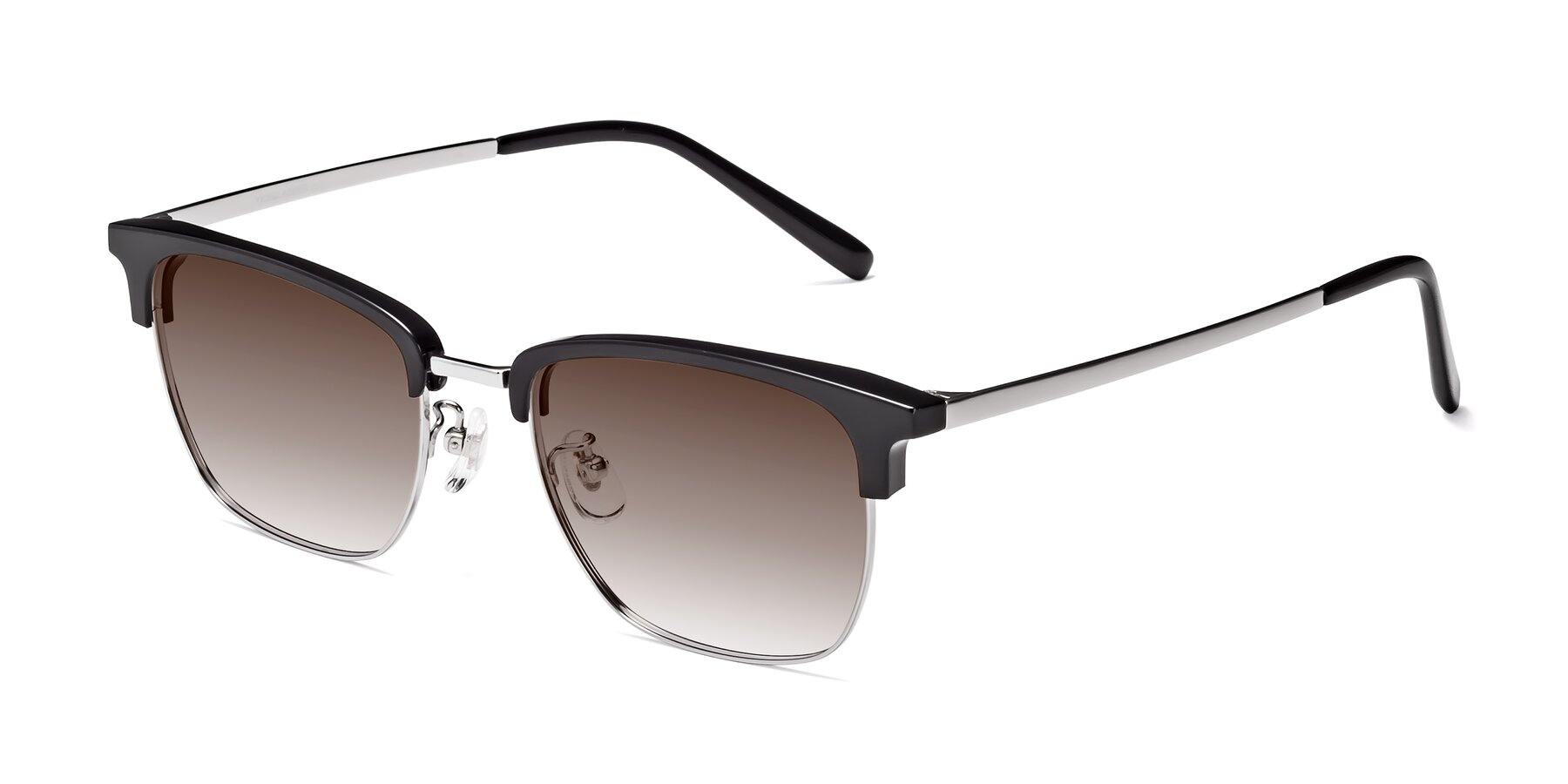 Angle of Milpa in Black-Silver with Brown Gradient Lenses