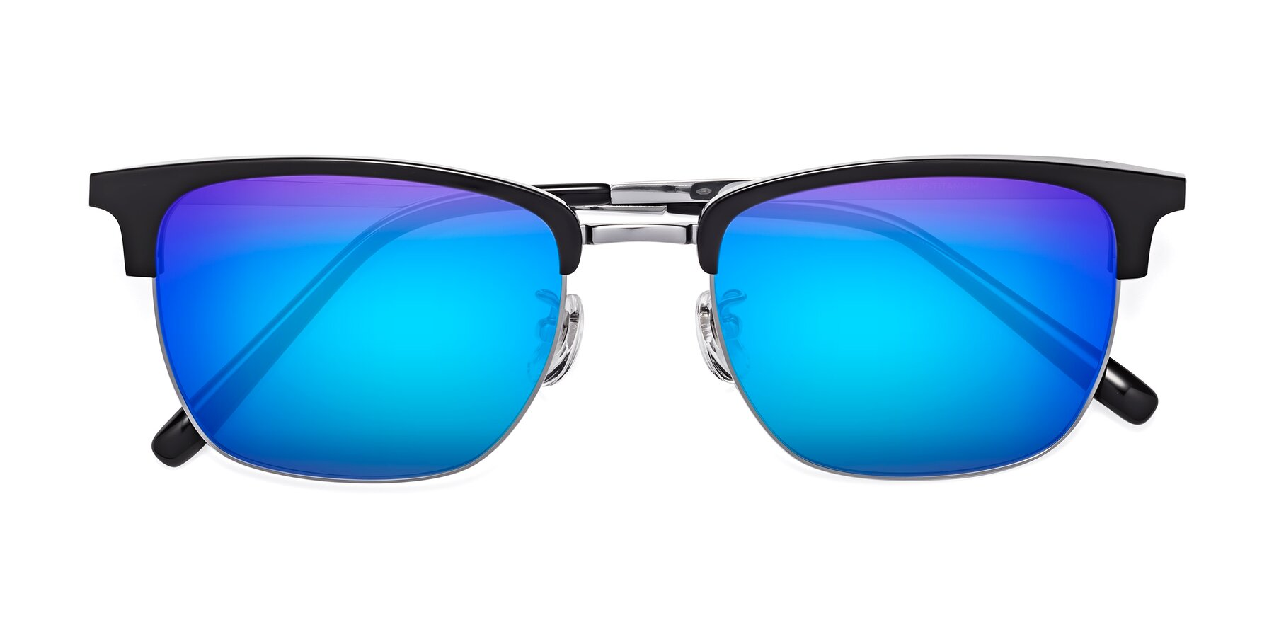 Folded Front of Milpa in Black-Silver with Blue Mirrored Lenses