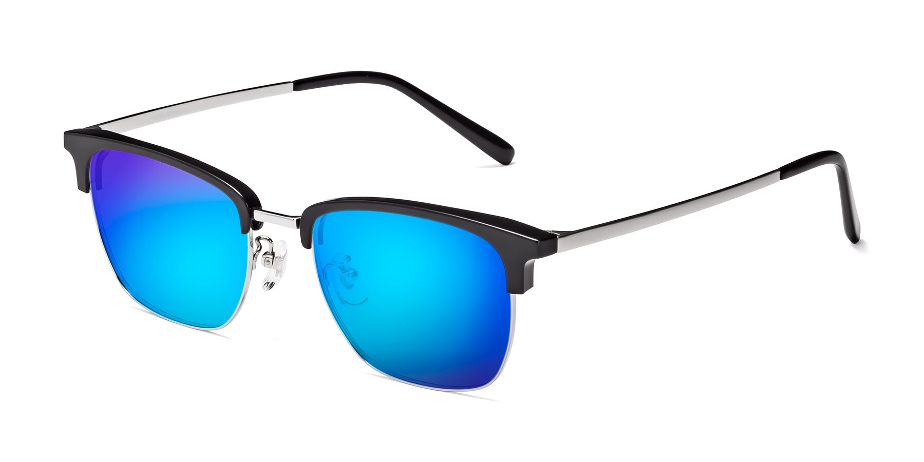 Angle of Milpa in Black-Silver with Blue Mirrored Lenses