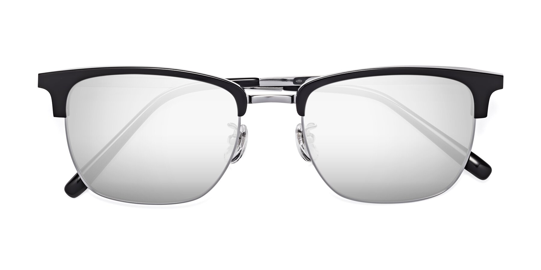 Folded Front of Milpa in Black-Silver with Silver Mirrored Lenses
