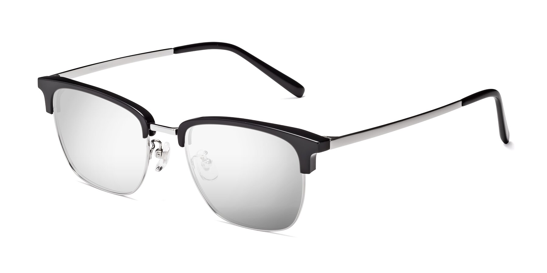 Angle of Milpa in Black-Silver with Silver Mirrored Lenses