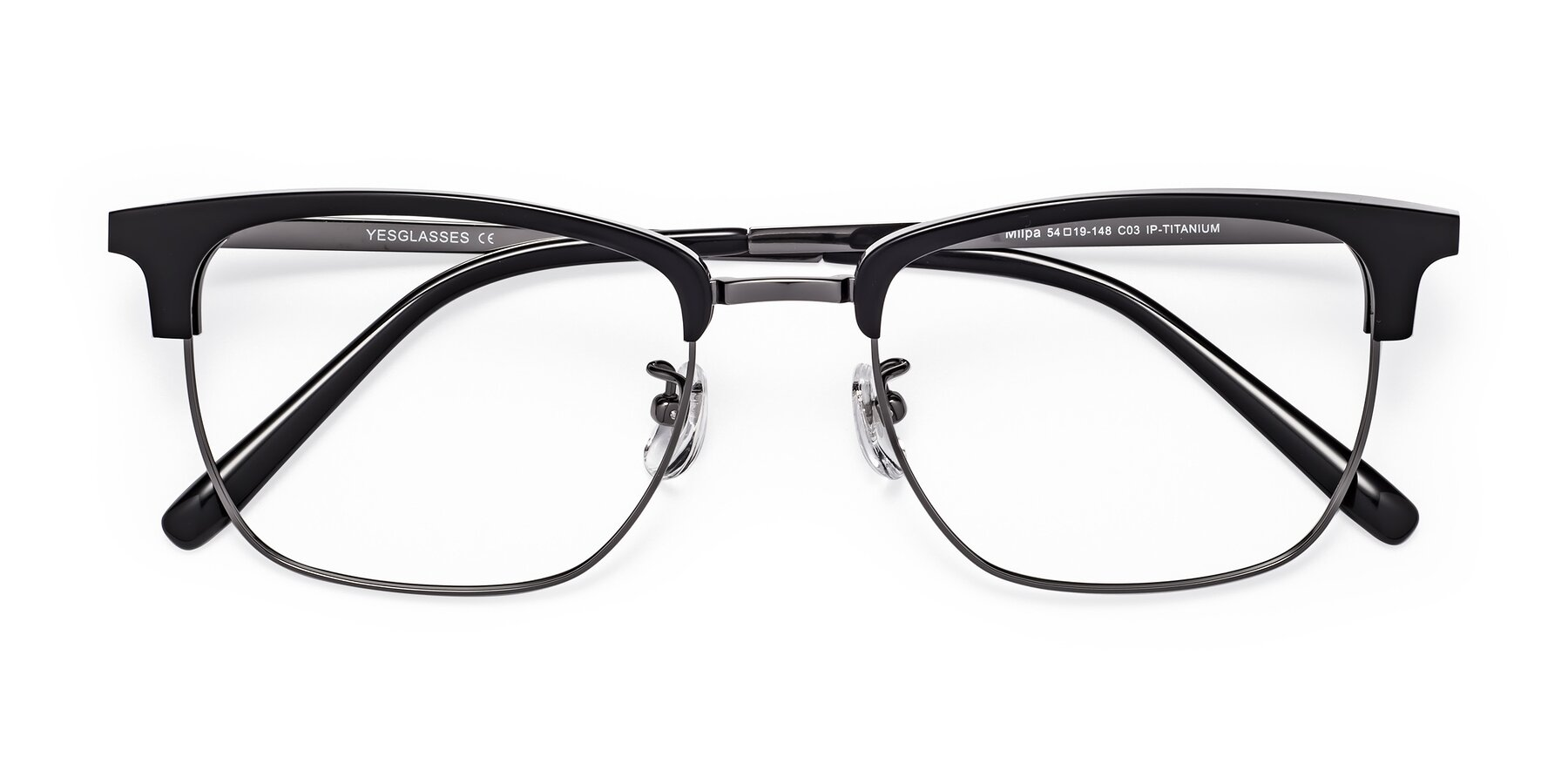 Folded Front of Milpa in Black-Gunmetal with Clear Blue Light Blocking Lenses