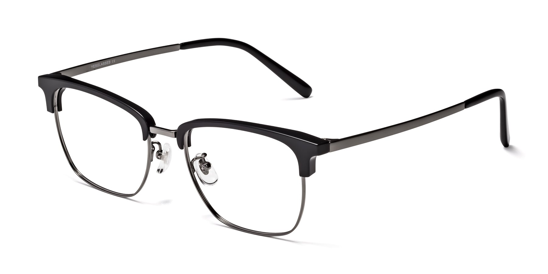 Angle of Milpa in Black-Gunmetal with Clear Blue Light Blocking Lenses