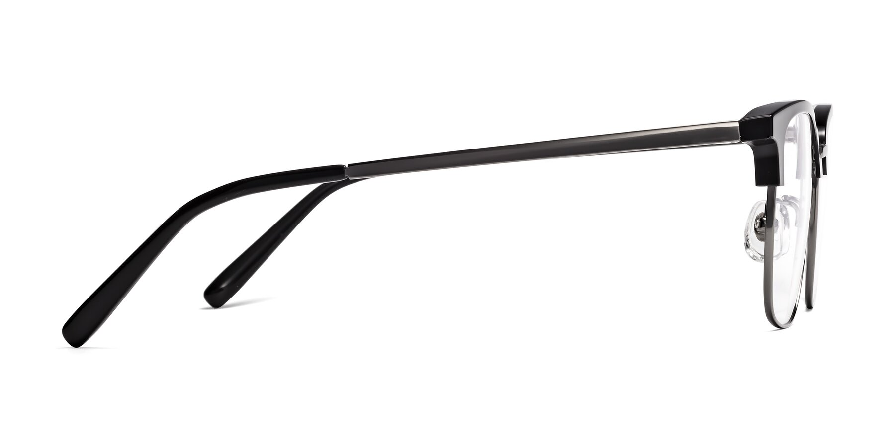 Side of Milpa in Black-Gunmetal with Clear Blue Light Blocking Lenses