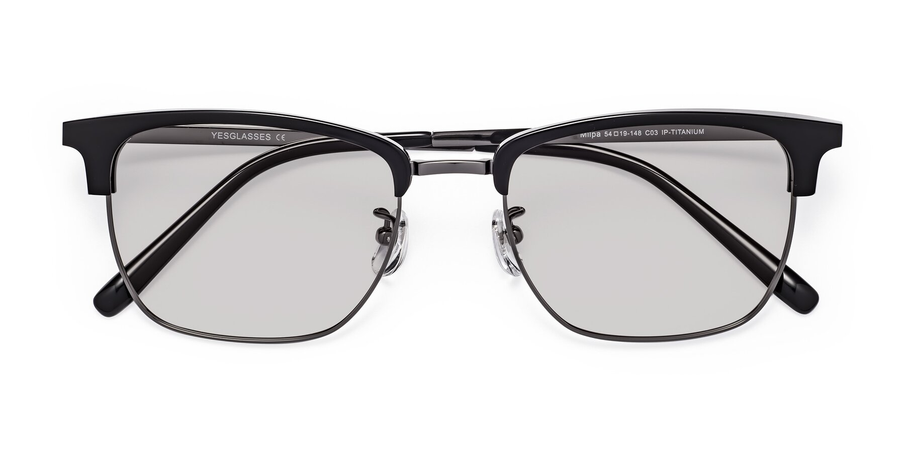 Folded Front of Milpa in Black-Gun with Light Gray Tinted Lenses