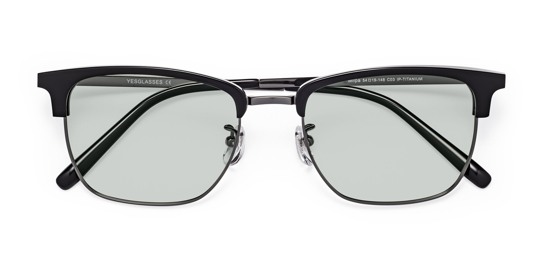 Folded Front of Milpa in Black-Gun with Light Green Tinted Lenses