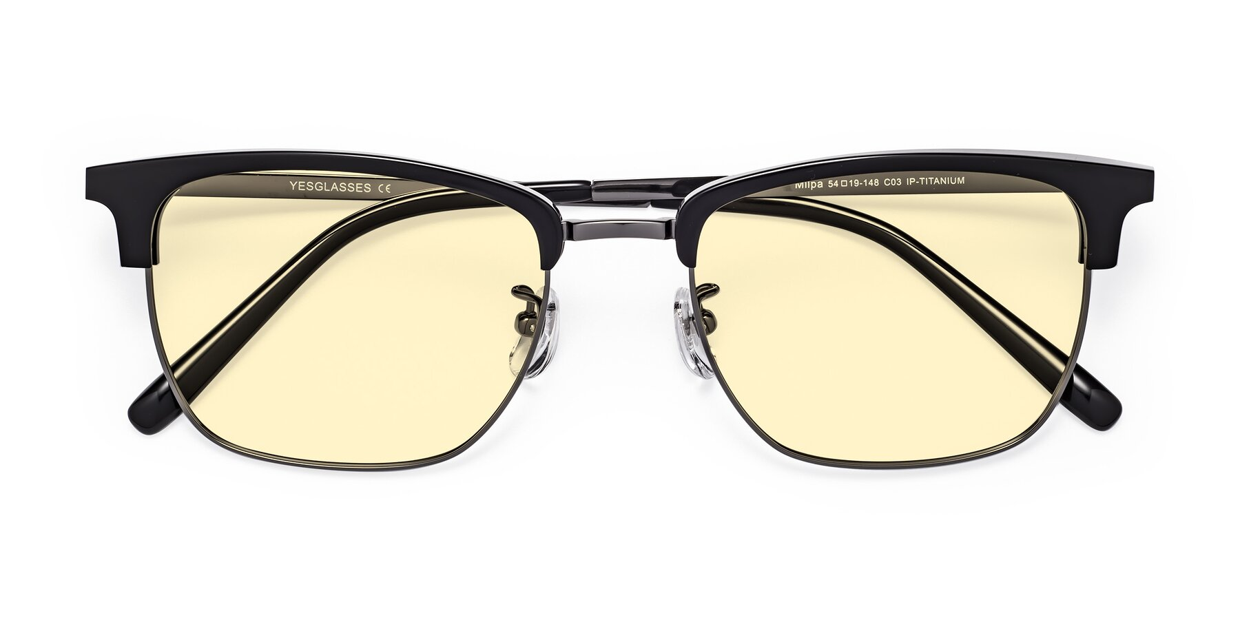 Folded Front of Milpa in Black-Gun with Light Yellow Tinted Lenses