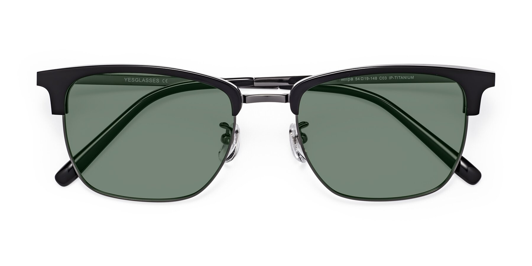 Folded Front of Milpa in Black-Gun with Medium Green Tinted Lenses