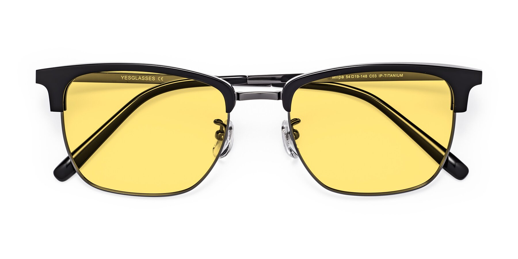 Folded Front of Milpa in Black-Gun with Medium Yellow Tinted Lenses
