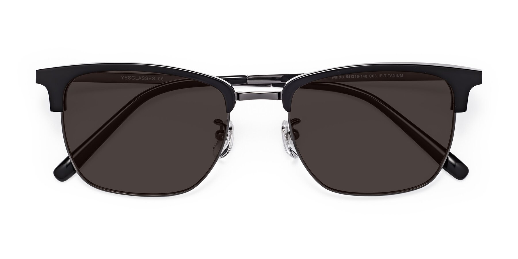 Folded Front of Milpa in Black-Gun with Gray Tinted Lenses