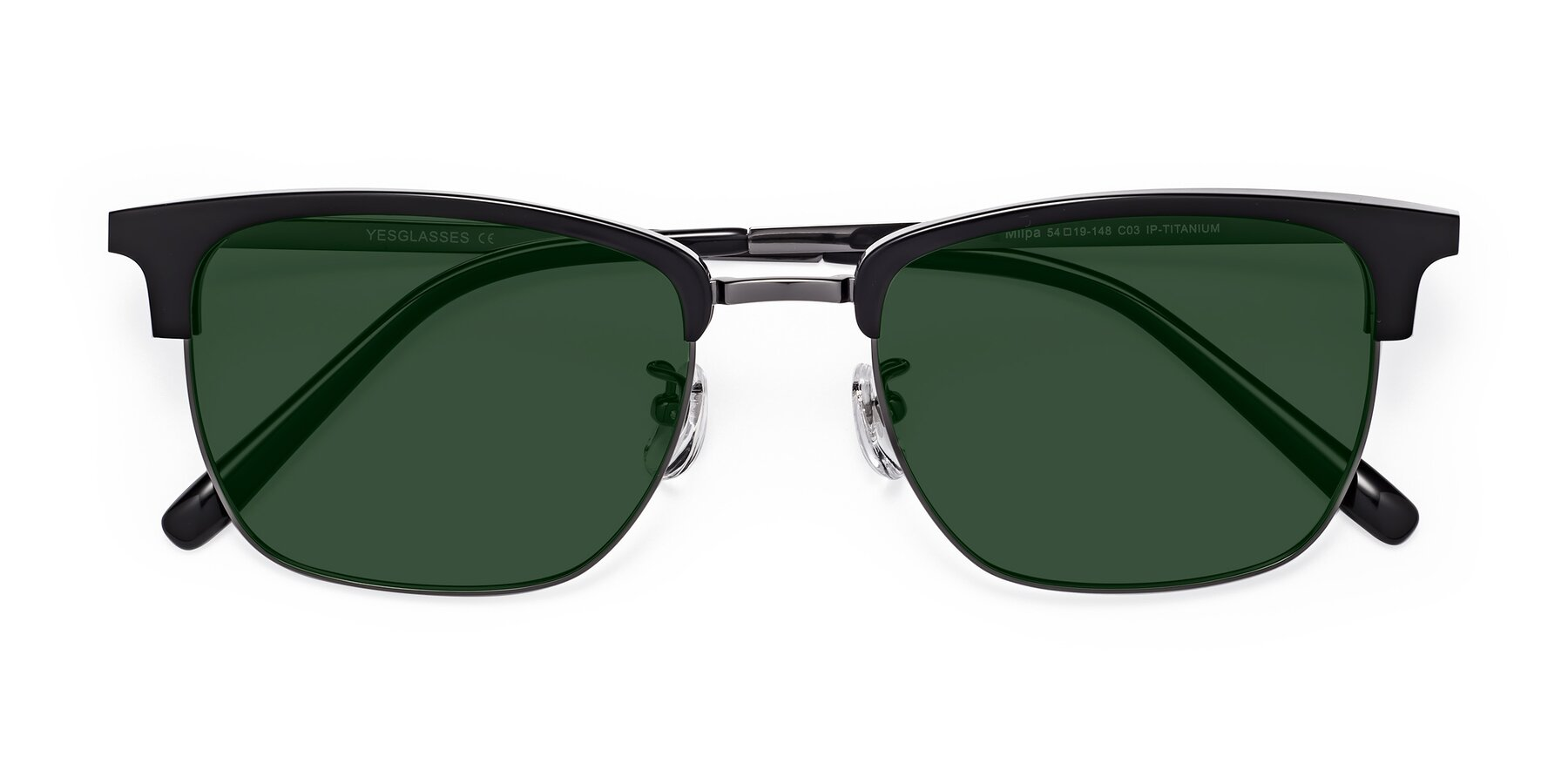 Folded Front of Milpa in Black-Gun with Green Tinted Lenses