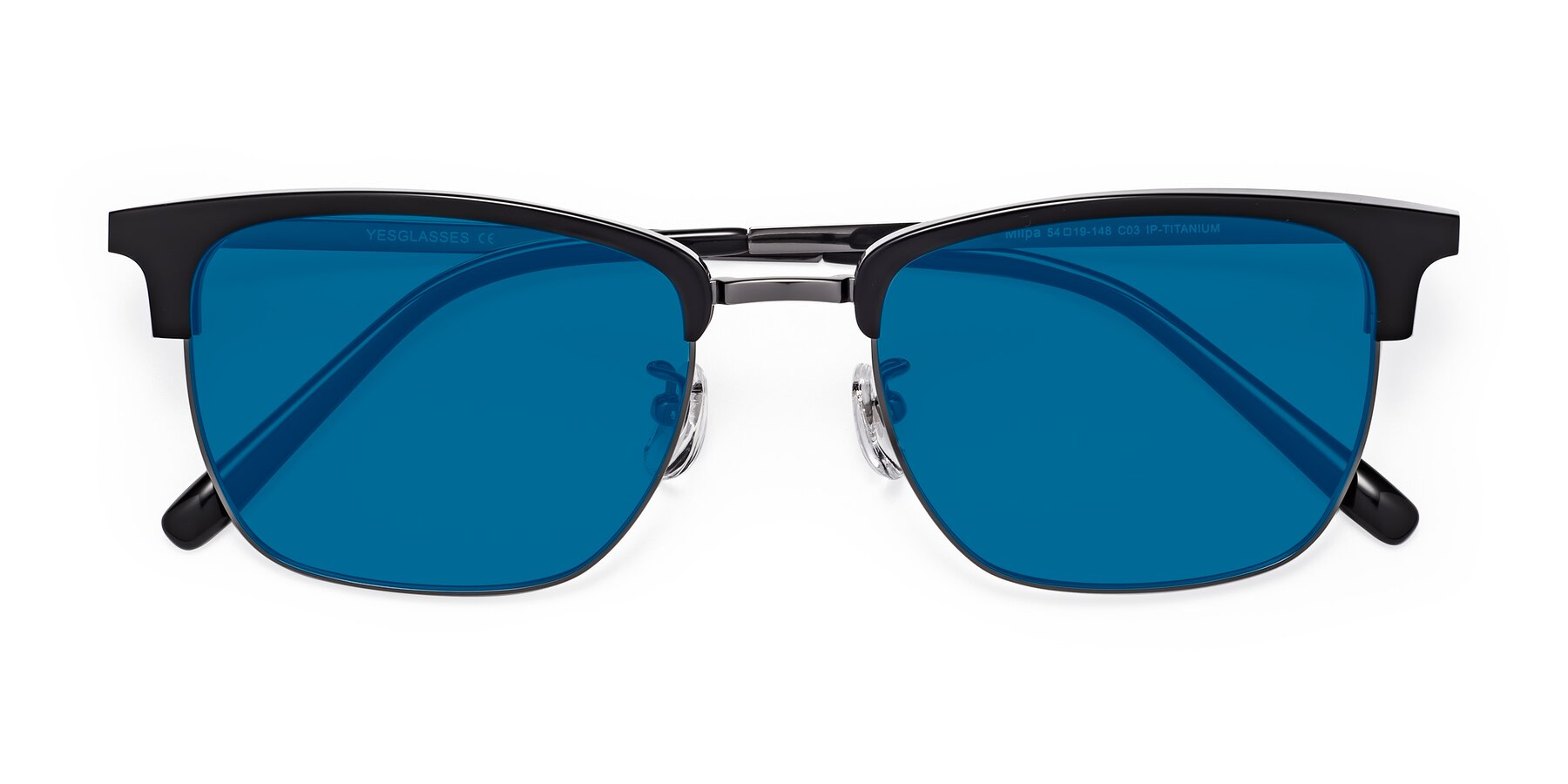 Folded Front of Milpa in Black-Gun with Blue Tinted Lenses