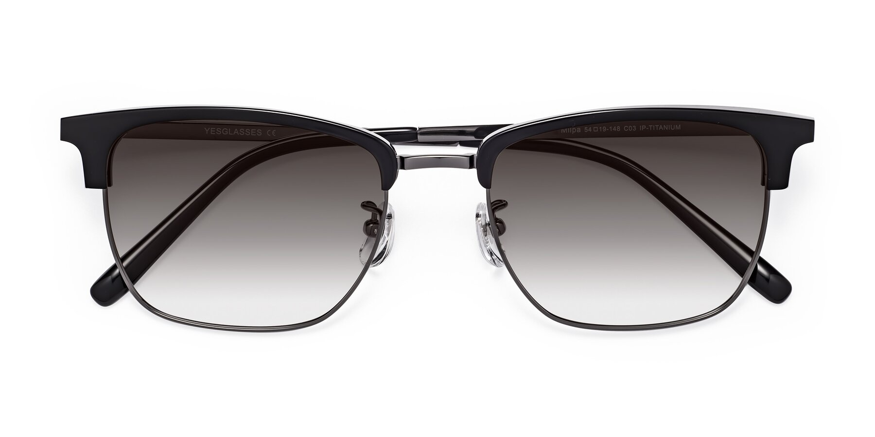 Folded Front of Milpa in Black-Gun with Gray Gradient Lenses