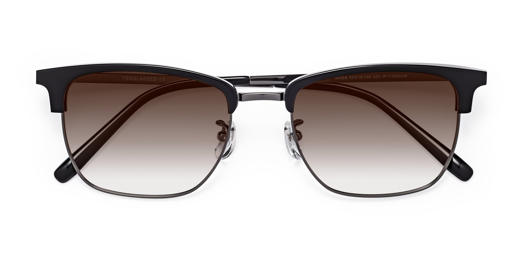 Folded Front of Milpa in Black-Gun with Brown Gradient Lenses
