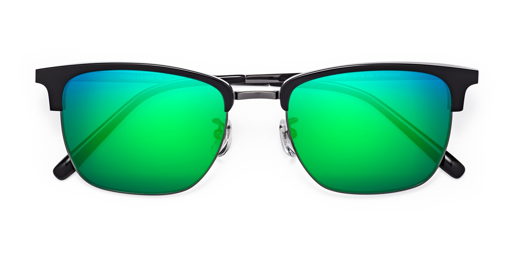 Folded Front of Milpa in Black-Gun with Green Mirrored Lenses