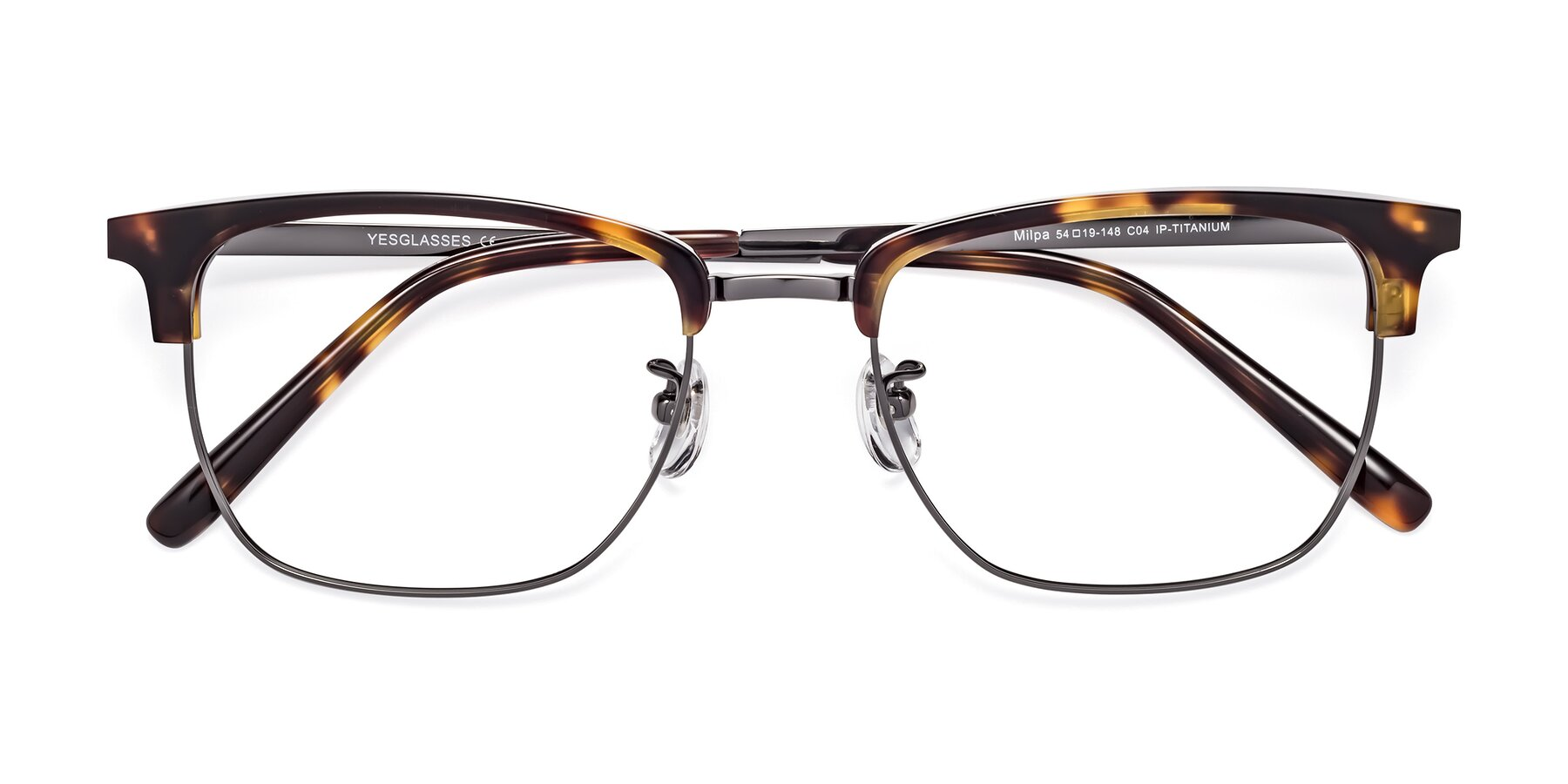 Folded Front of Milpa in Tortoise with Clear Eyeglass Lenses
