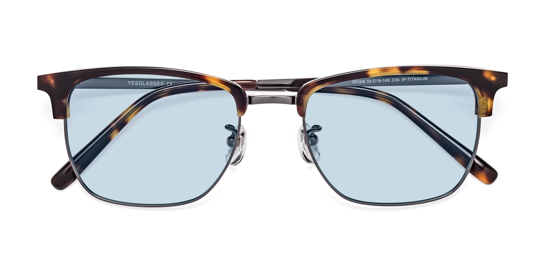 Folded Front of Milpa in Tortoise with Light Blue Tinted Lenses
