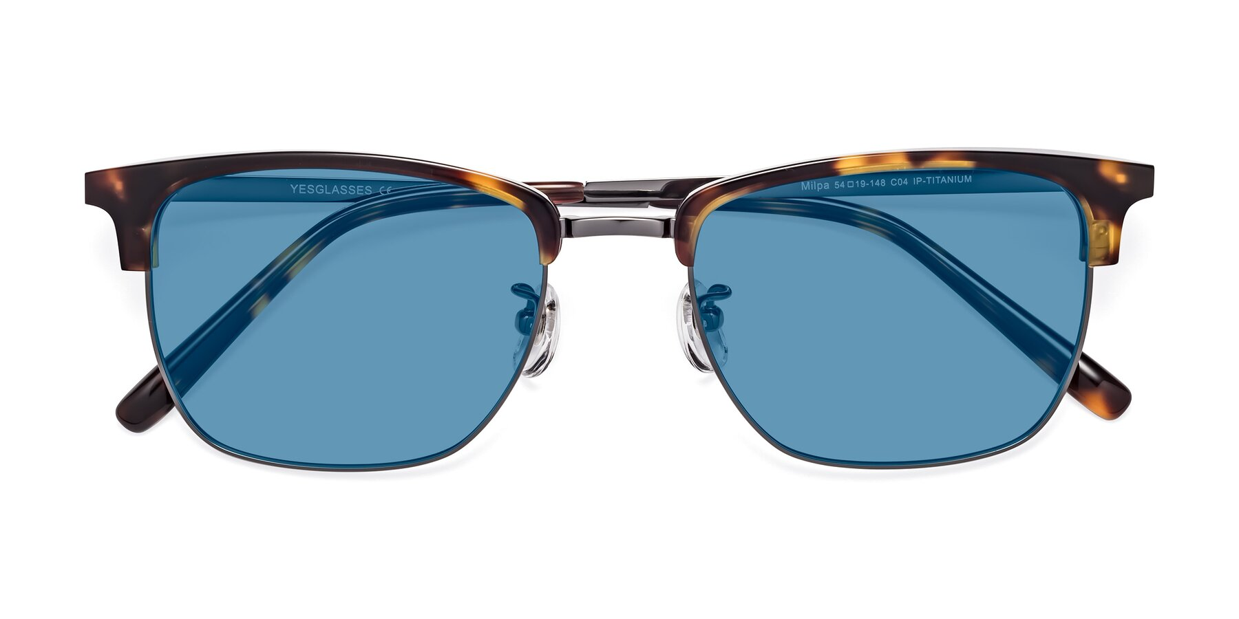 Folded Front of Milpa in Tortoise with Medium Blue Tinted Lenses