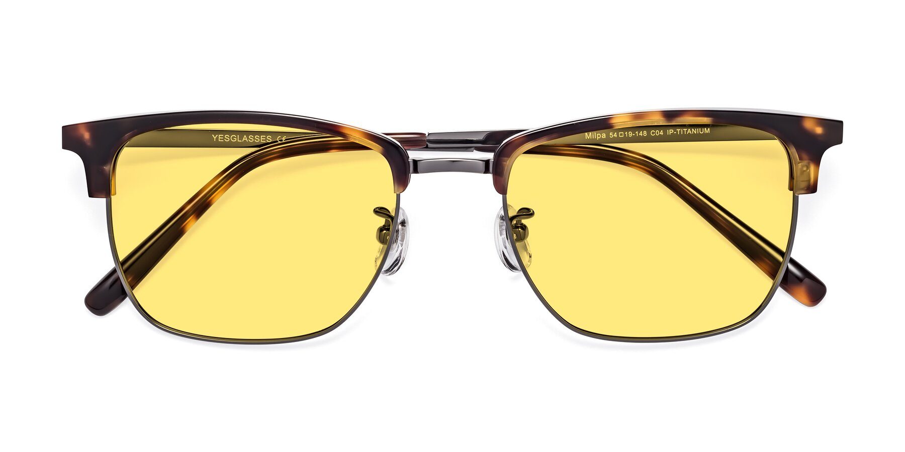 Folded Front of Milpa in Tortoise with Medium Yellow Tinted Lenses