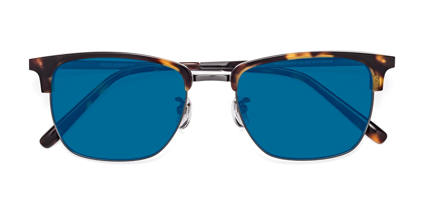 Folded Front of Milpa in Tortoise with Blue Tinted Lenses