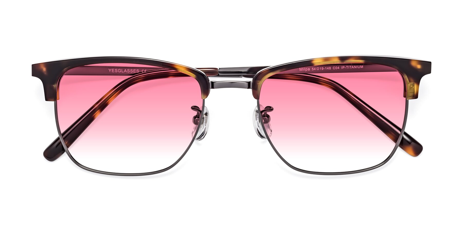 Folded Front of Milpa in Tortoise with Pink Gradient Lenses