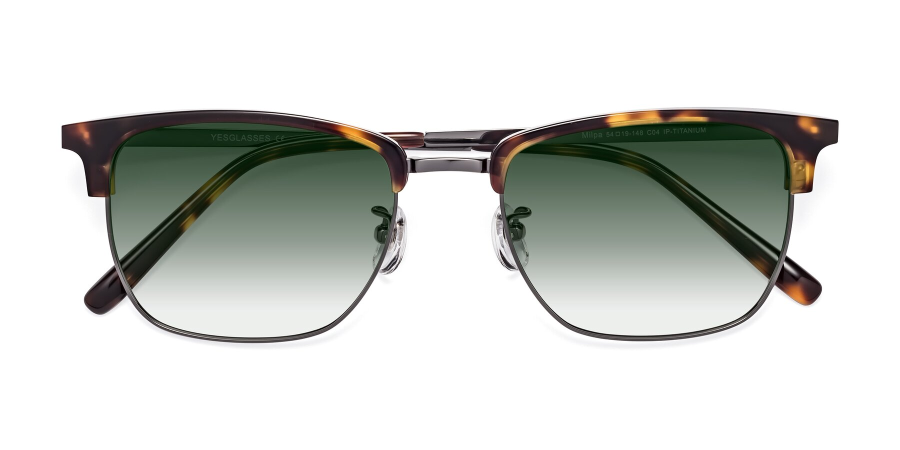 Folded Front of Milpa in Tortoise with Green Gradient Lenses