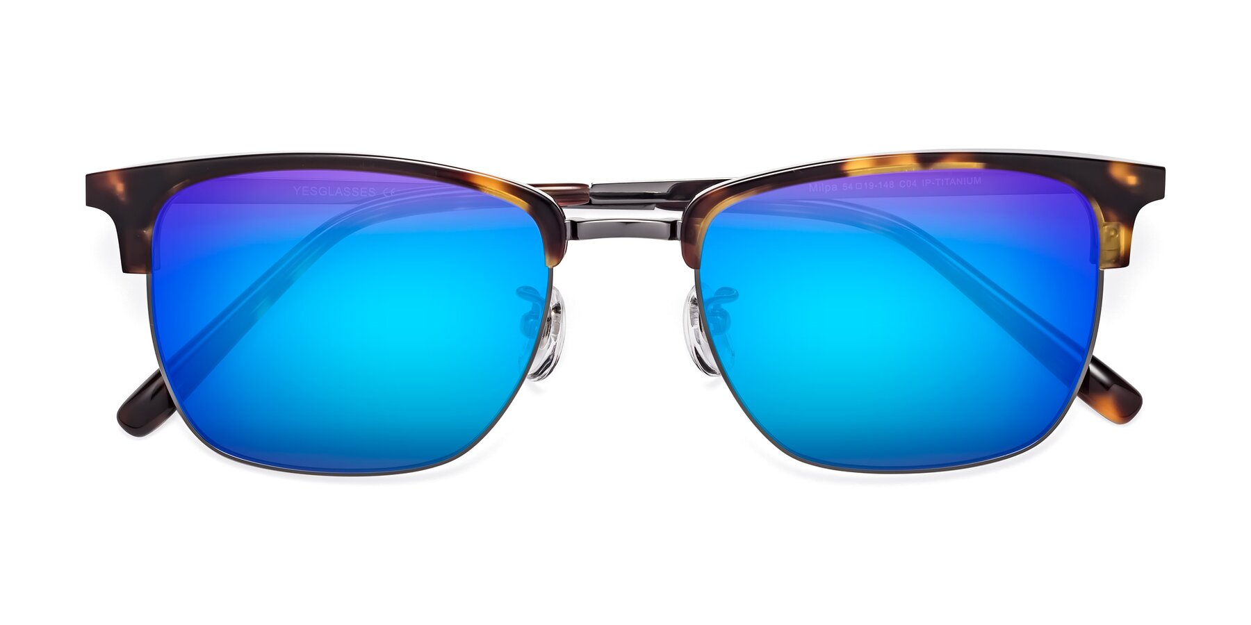 Folded Front of Milpa in Tortoise with Blue Mirrored Lenses