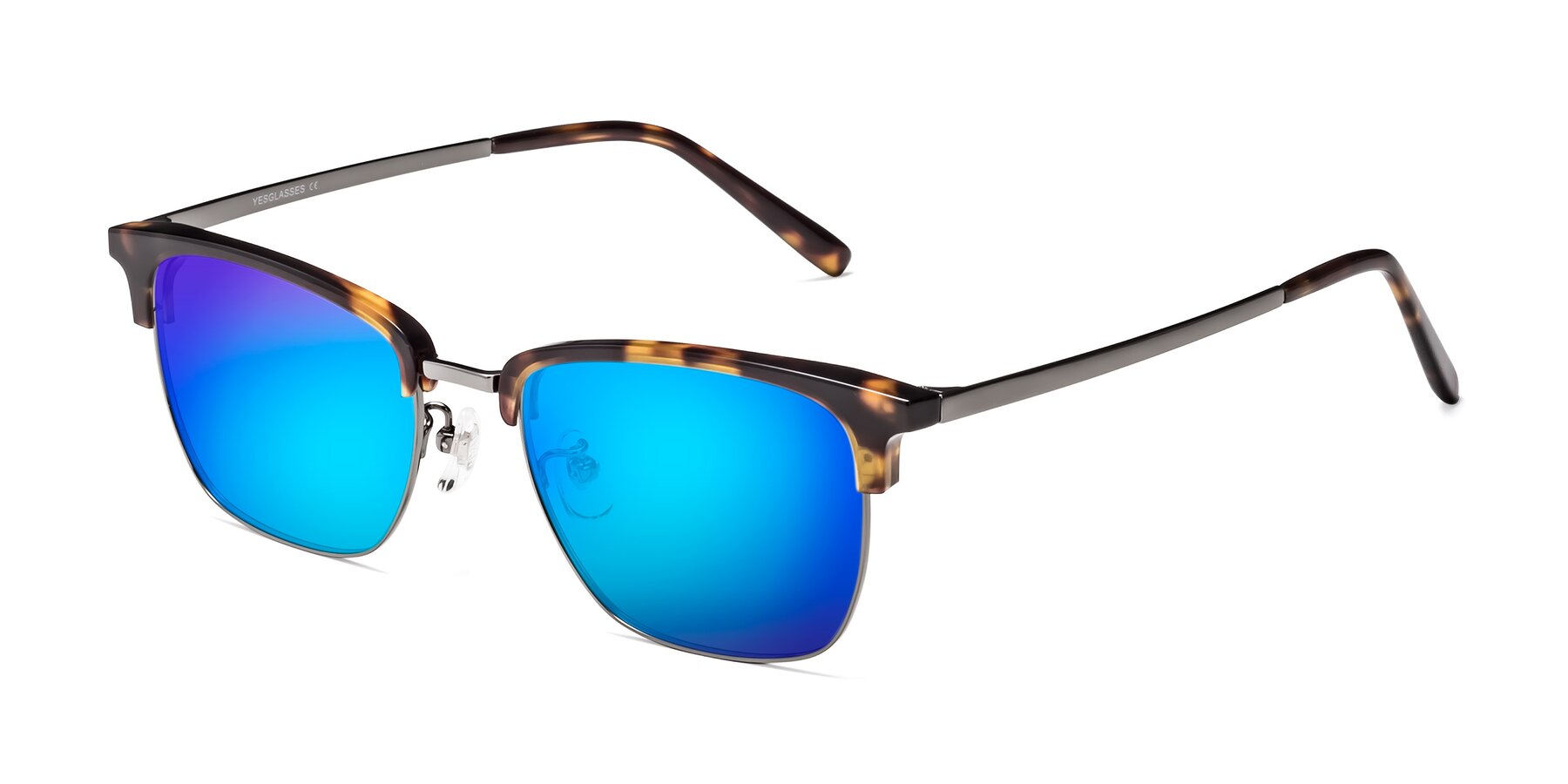 Angle of Milpa in Tortoise with Blue Mirrored Lenses