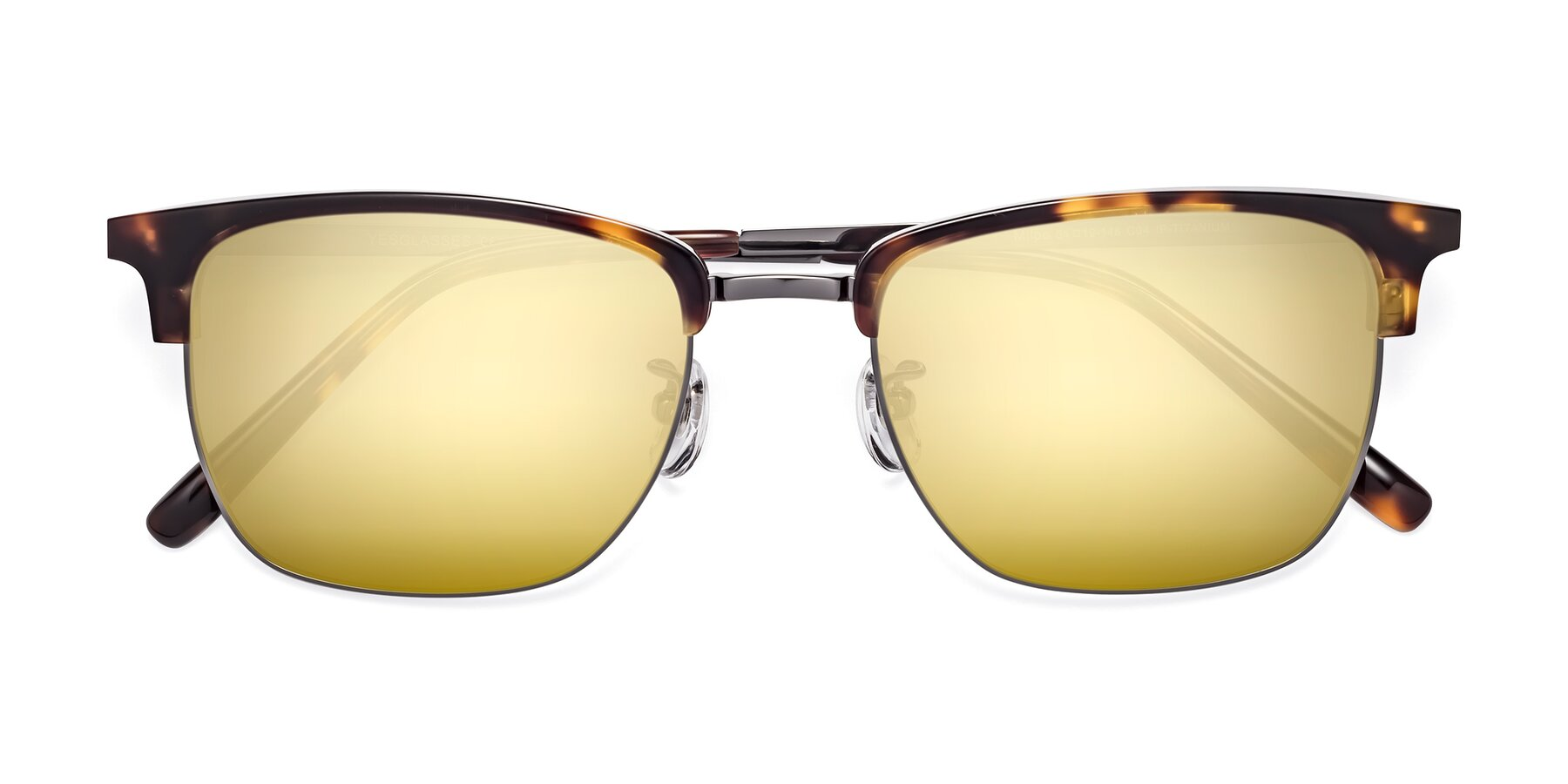 Folded Front of Milpa in Tortoise with Gold Mirrored Lenses