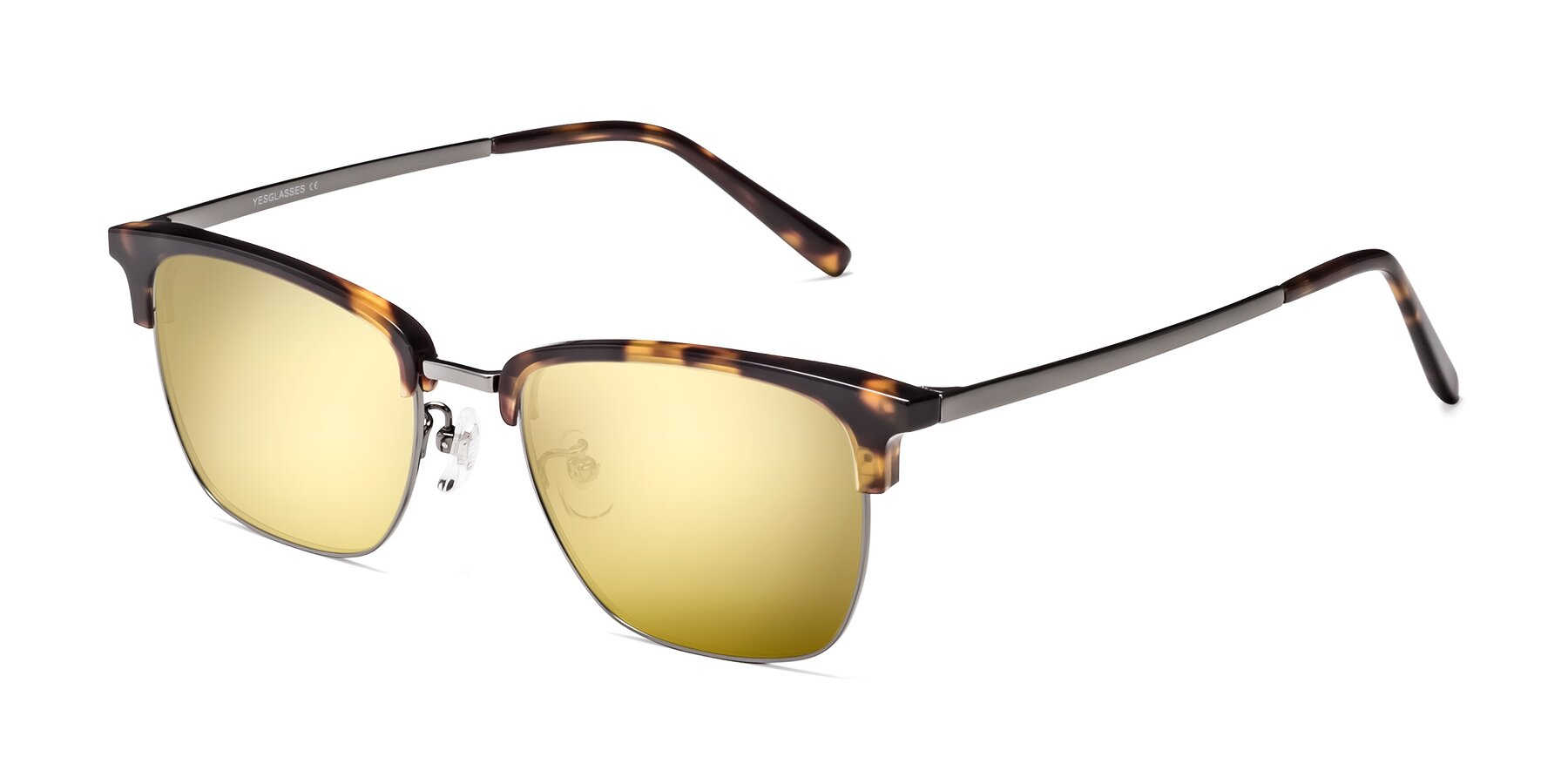 Angle of Milpa in Tortoise with Gold Mirrored Lenses
