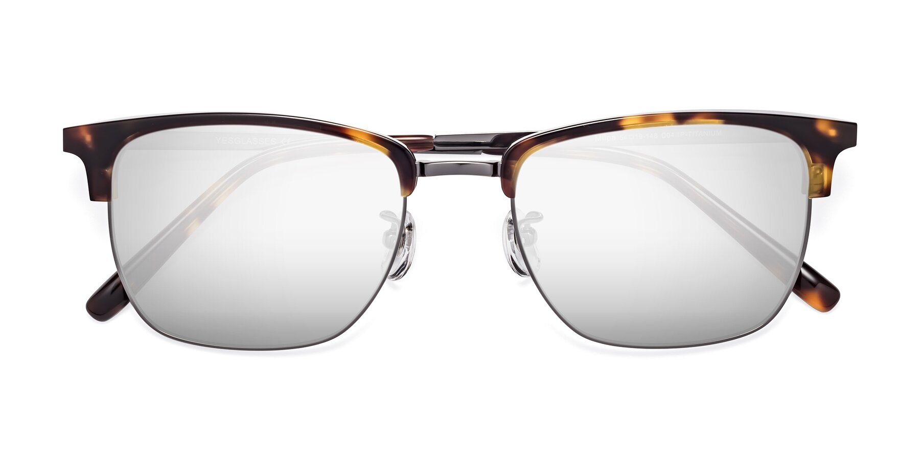 Folded Front of Milpa in Tortoise with Silver Mirrored Lenses