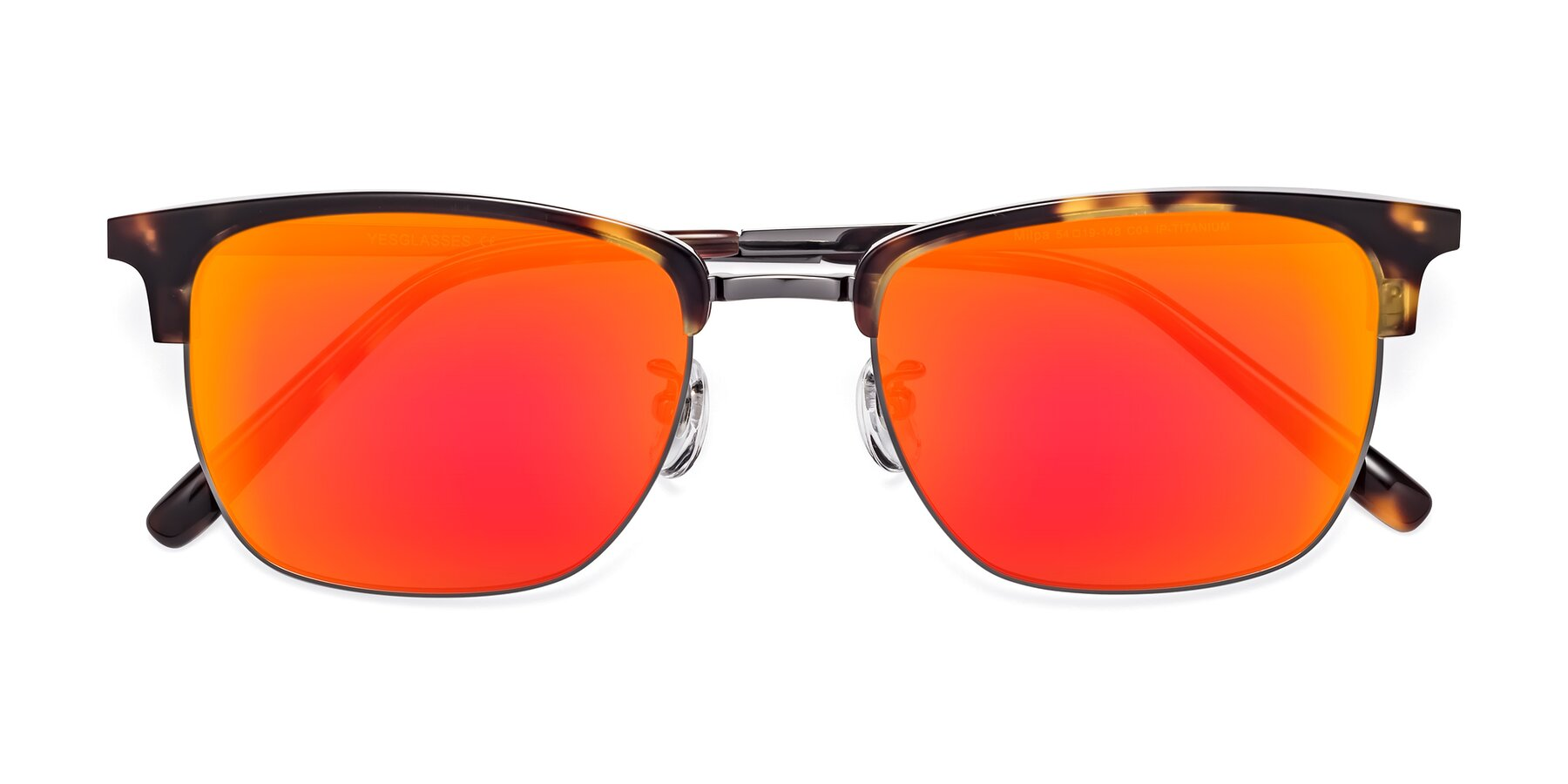 Folded Front of Milpa in Tortoise with Red Gold Mirrored Lenses