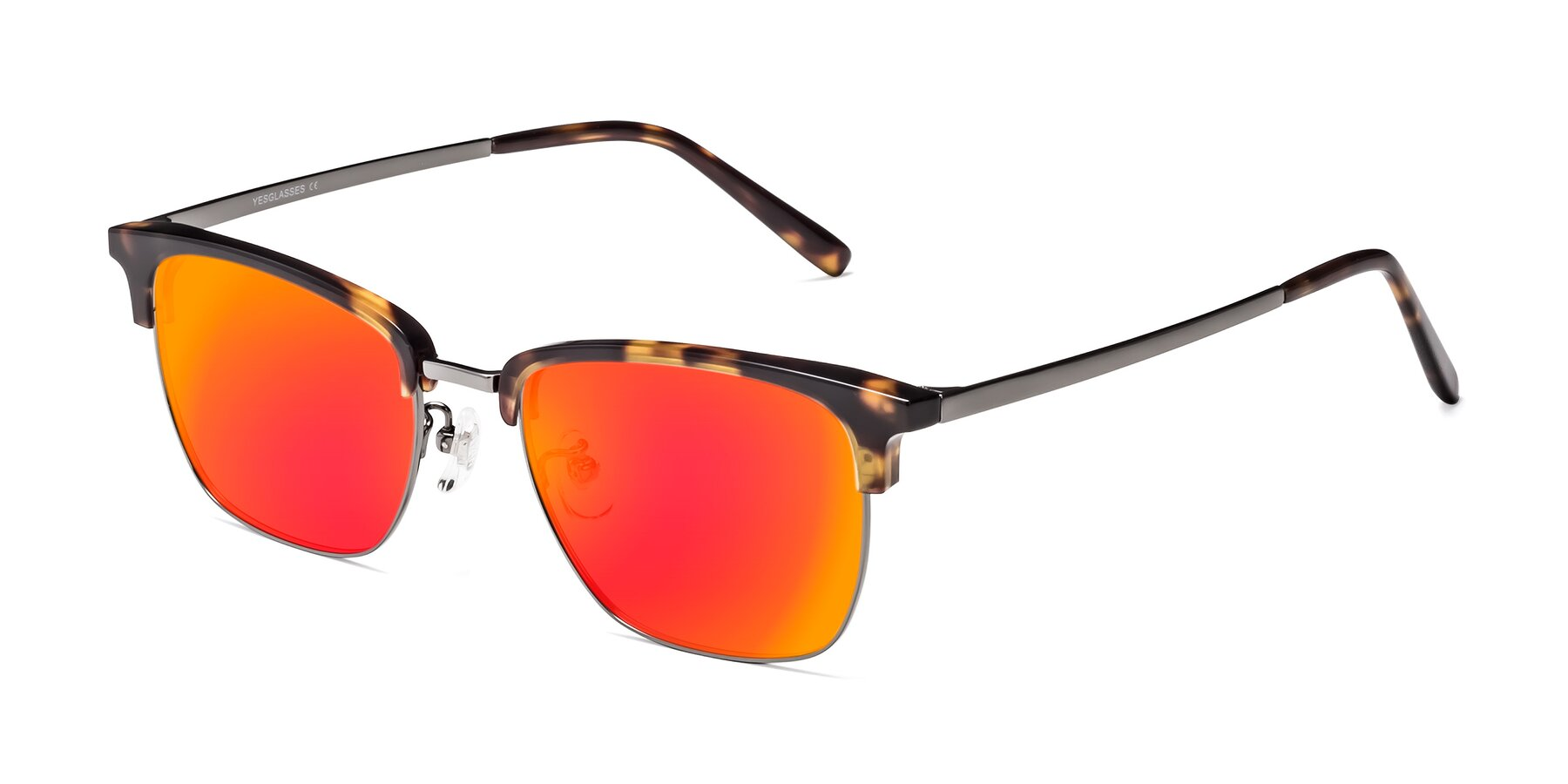 Angle of Milpa in Tortoise with Red Gold Mirrored Lenses