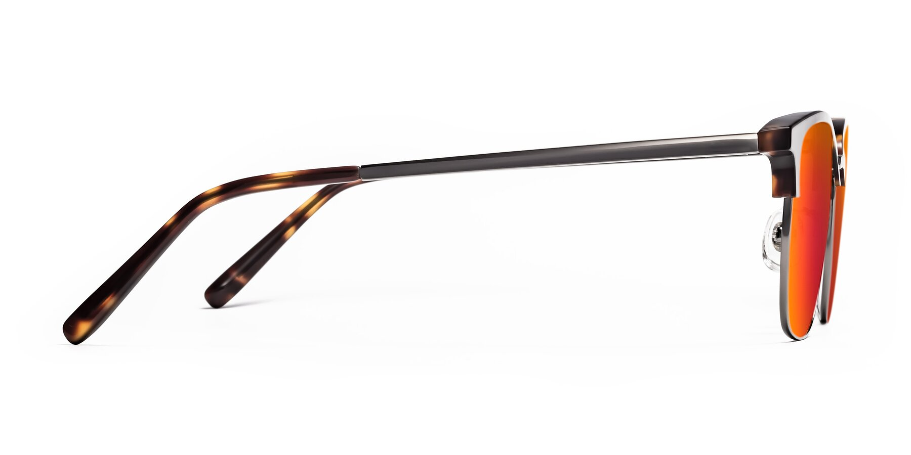 Side of Milpa in Tortoise with Red Gold Mirrored Lenses
