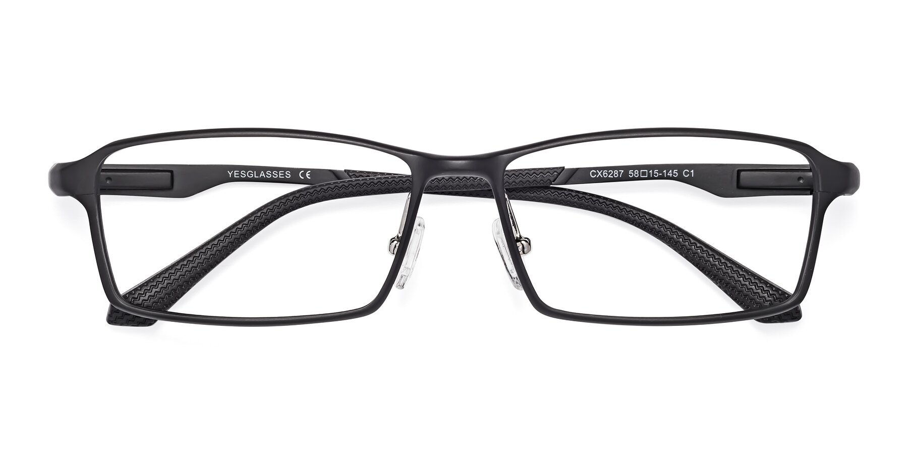 Folded Front of CX6287 in Black with Clear Blue Light Blocking Lenses