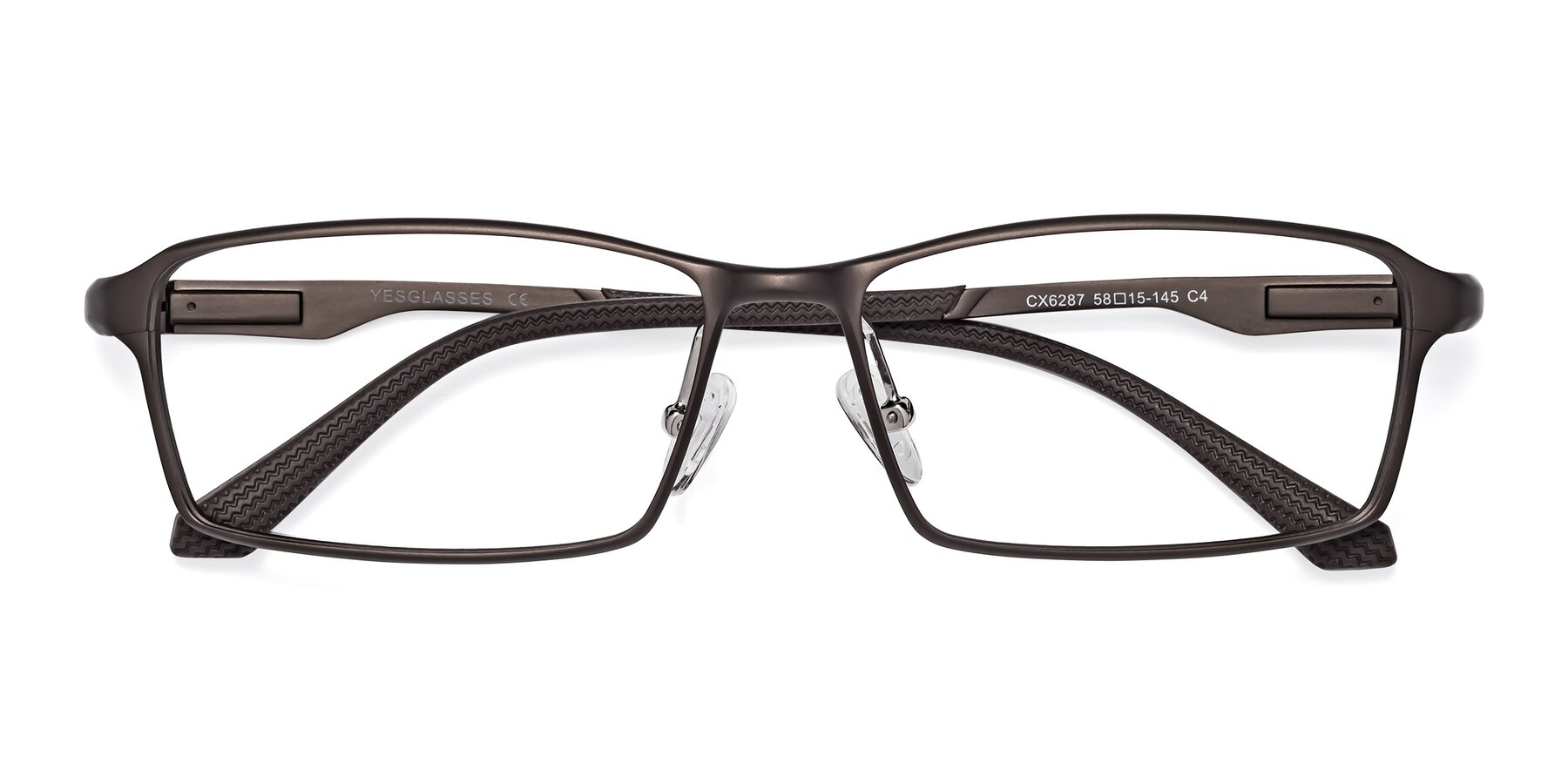 Folded Front of CX6287 in Coffee with Clear Eyeglass Lenses