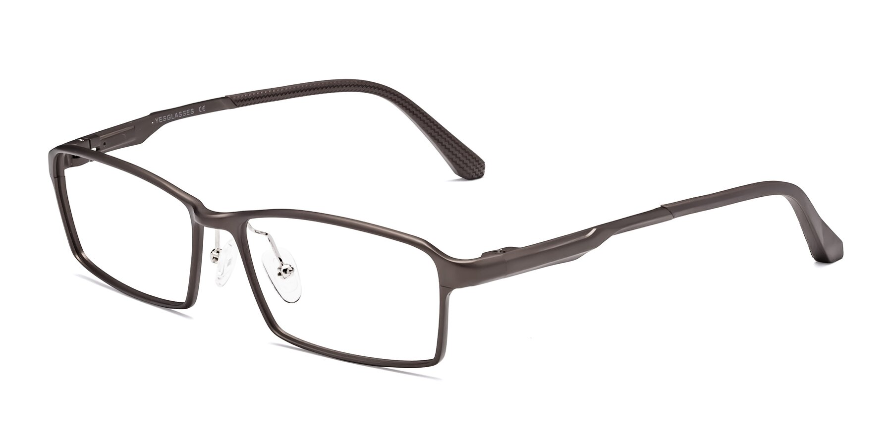 Angle of CX6287 in Coffee with Clear Eyeglass Lenses
