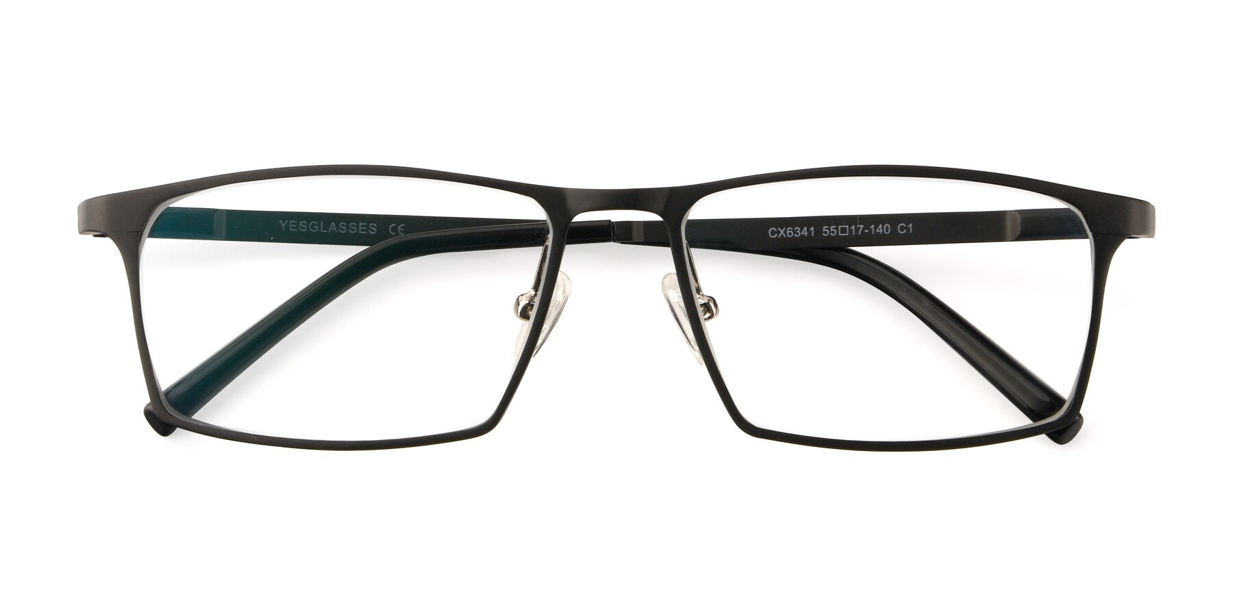 Folded Front of CX6341 in Black with Clear Eyeglass Lenses