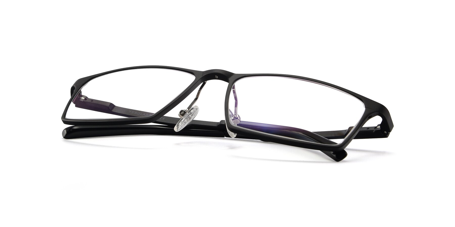 View of CX6341 in Black with Clear Eyeglass Lenses