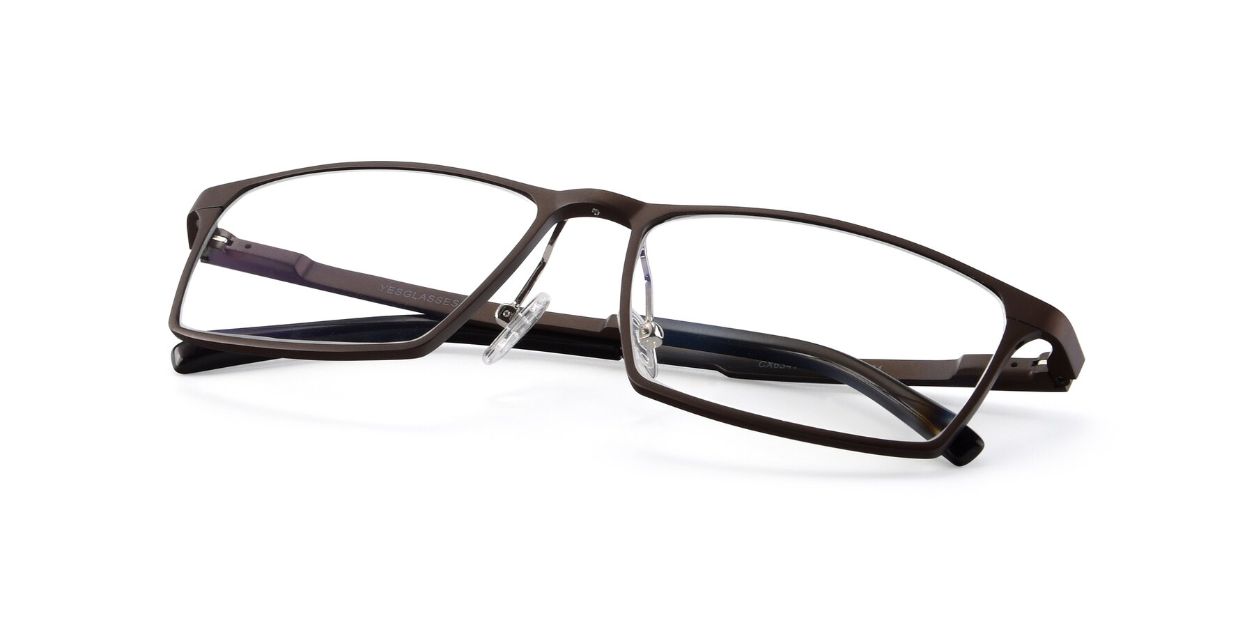 View of CX6341 in Coffee with Clear Blue Light Blocking Lenses