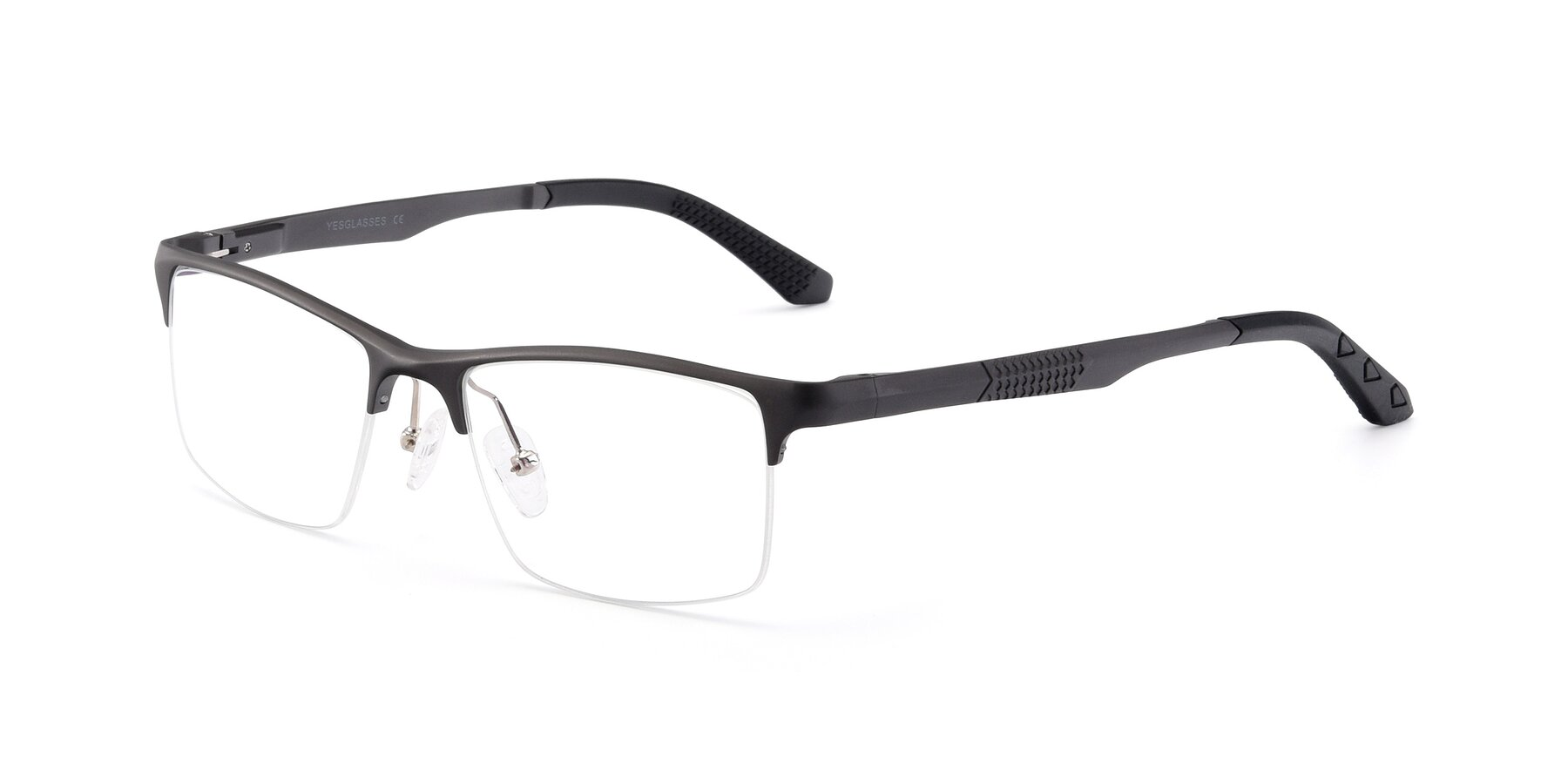 Angle of XL9021 in Gunmental with Clear Eyeglass Lenses