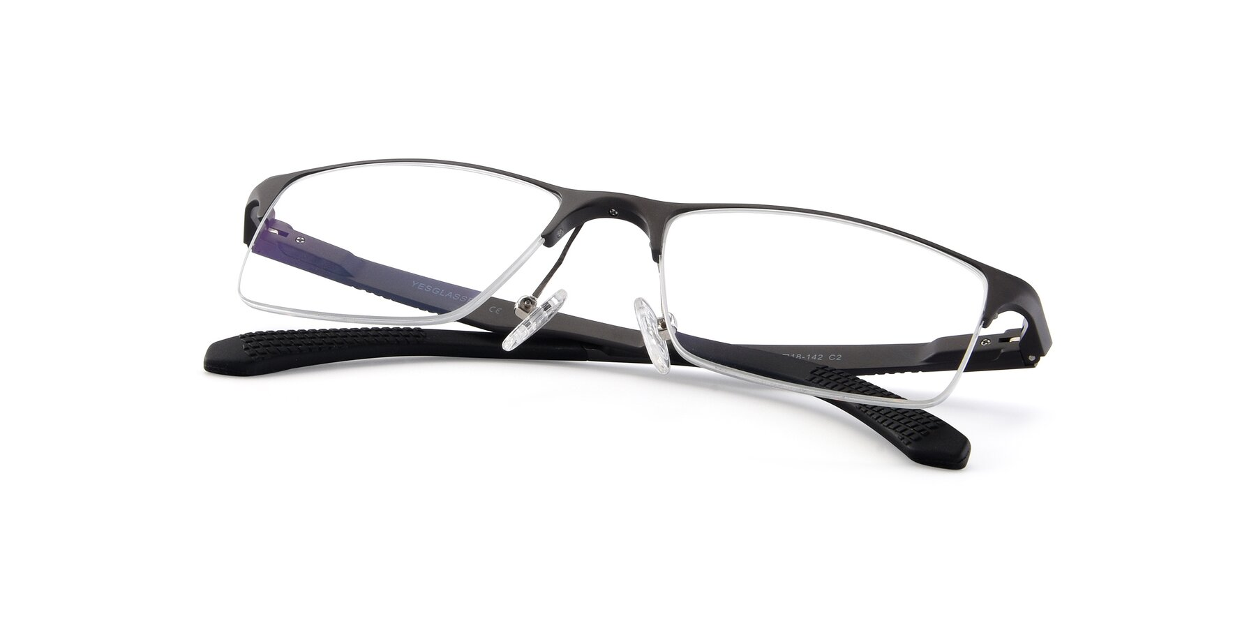 View of XL9021 in Gunmental with Clear Eyeglass Lenses