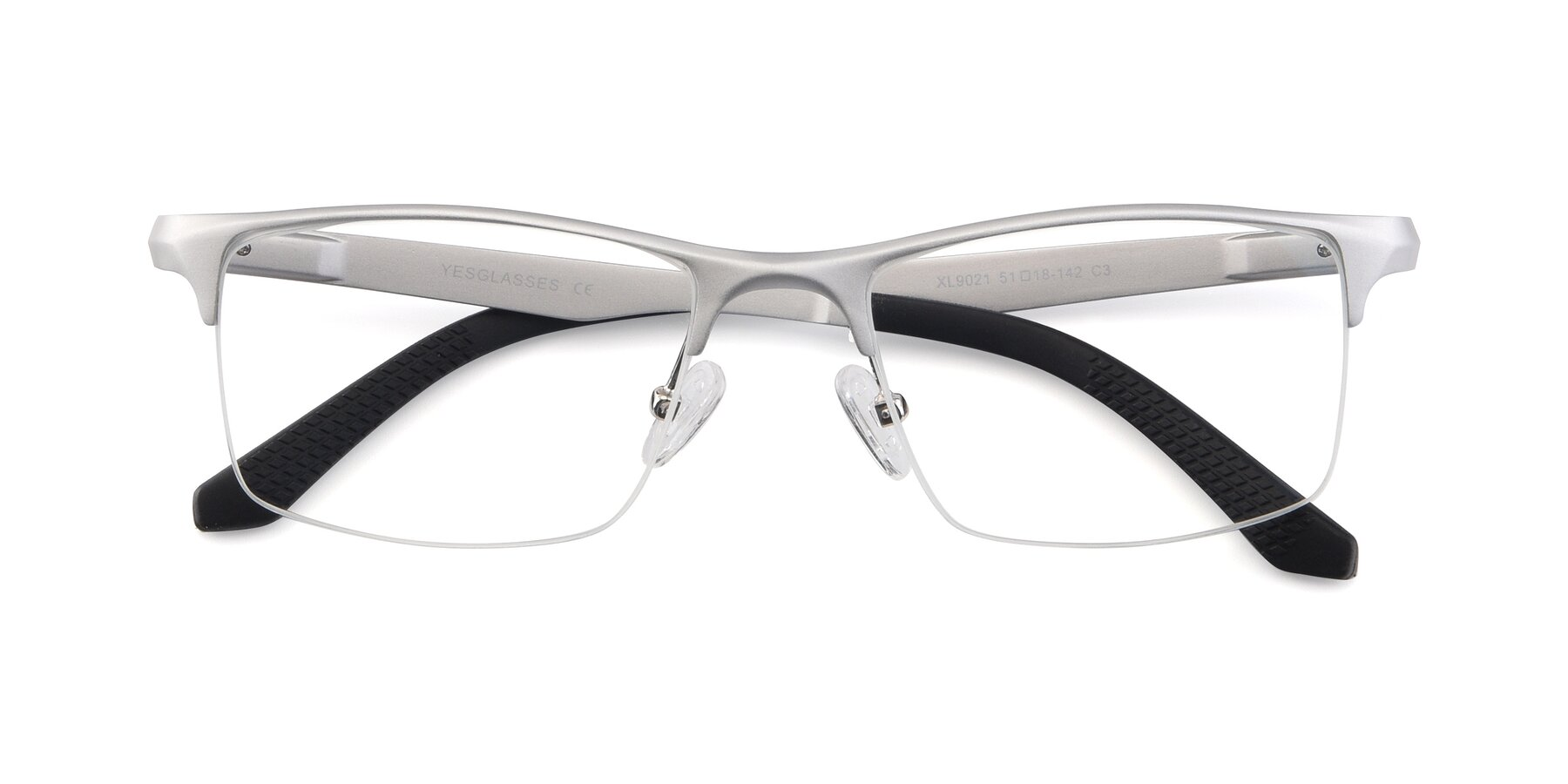 Folded Front of XL9021 in Silver with Clear Blue Light Blocking Lenses