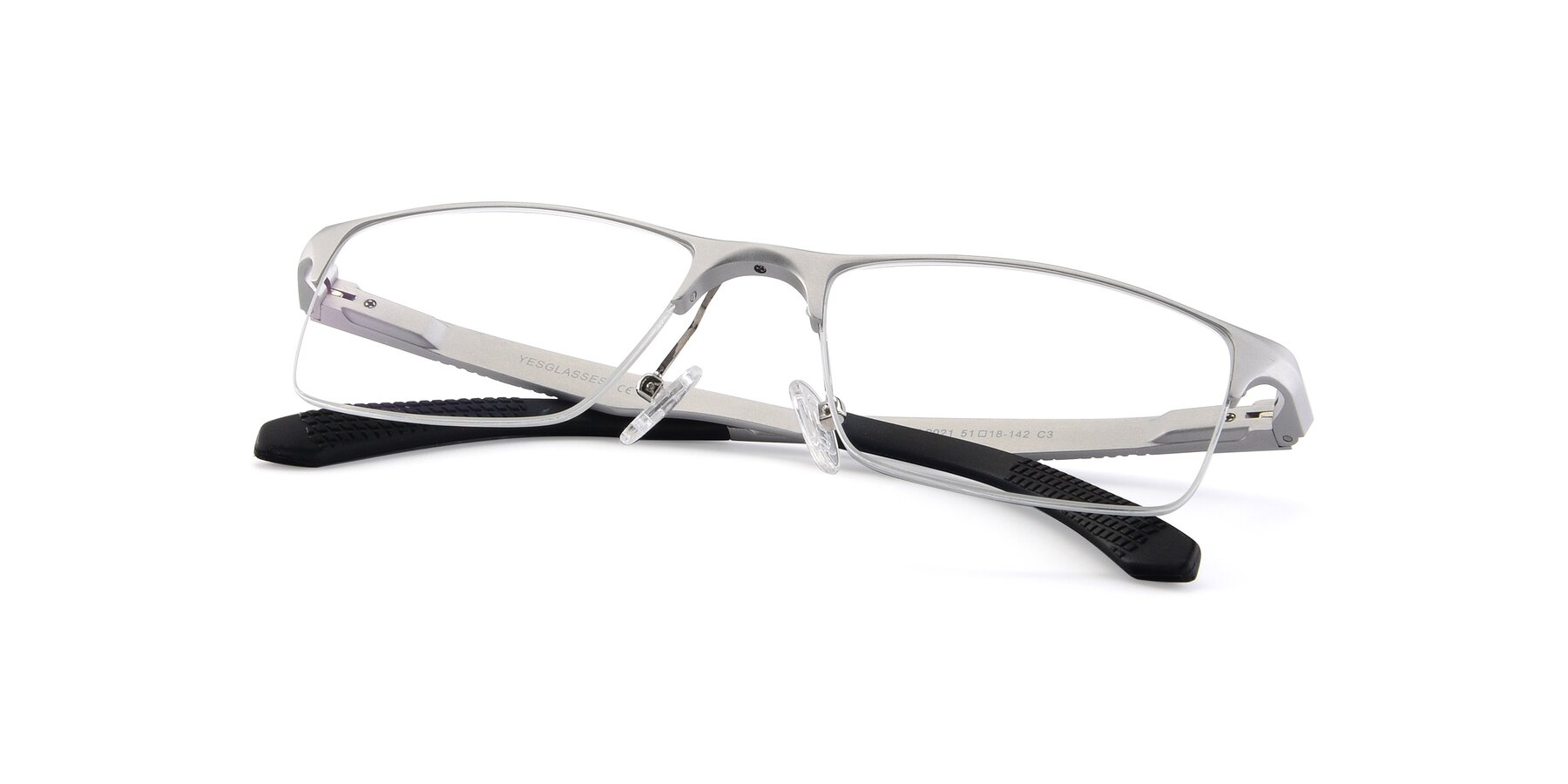 View of XL9021 in Silver with Clear Blue Light Blocking Lenses
