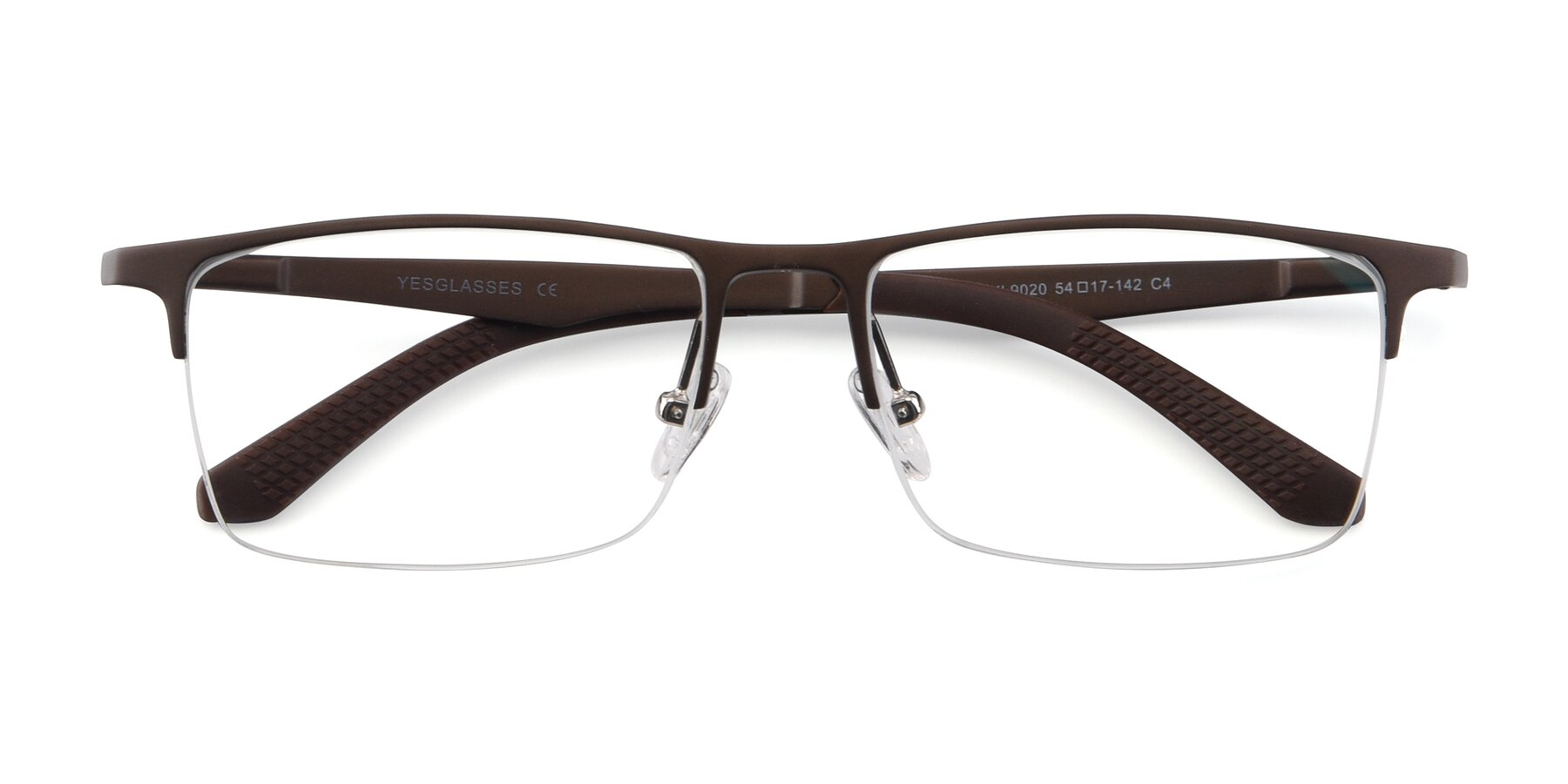 Folded Front of XL9020 in Coffee with Clear Blue Light Blocking Lenses