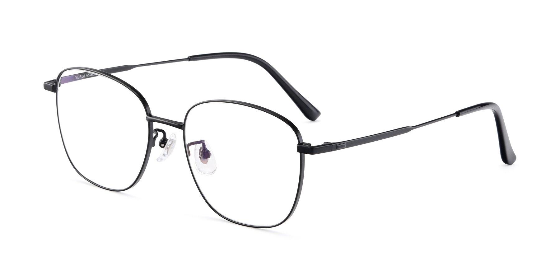 Angle of Tim in Black with Clear Eyeglass Lenses