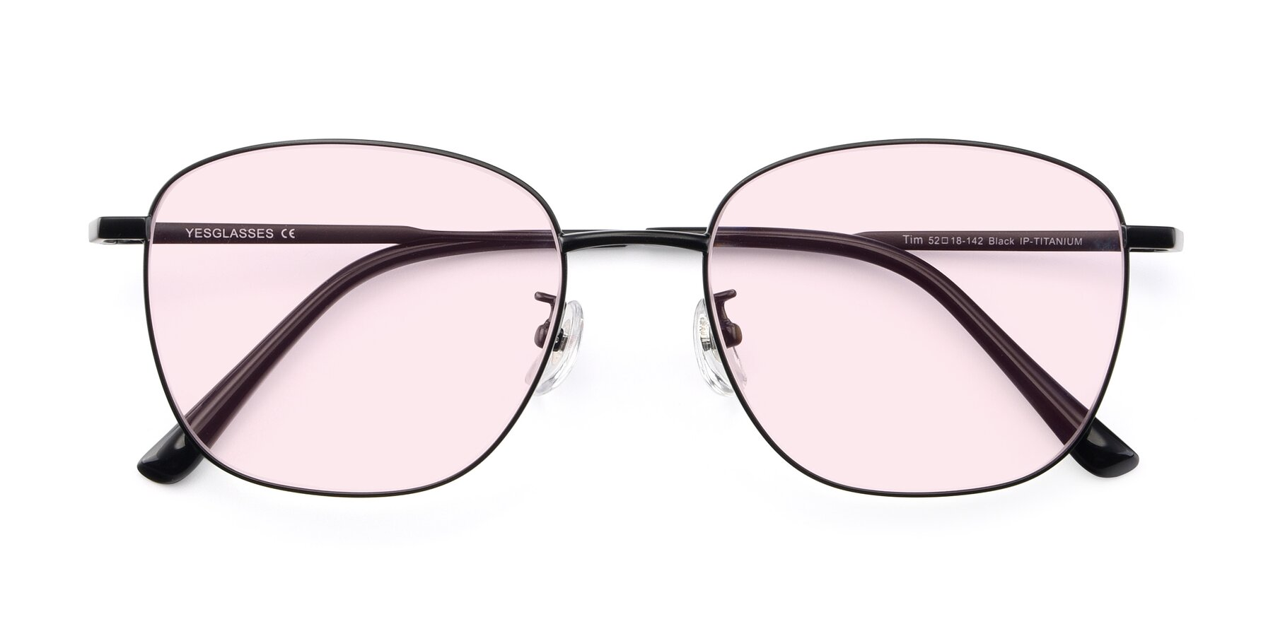 Folded Front of Tim in Black with Light Pink Tinted Lenses