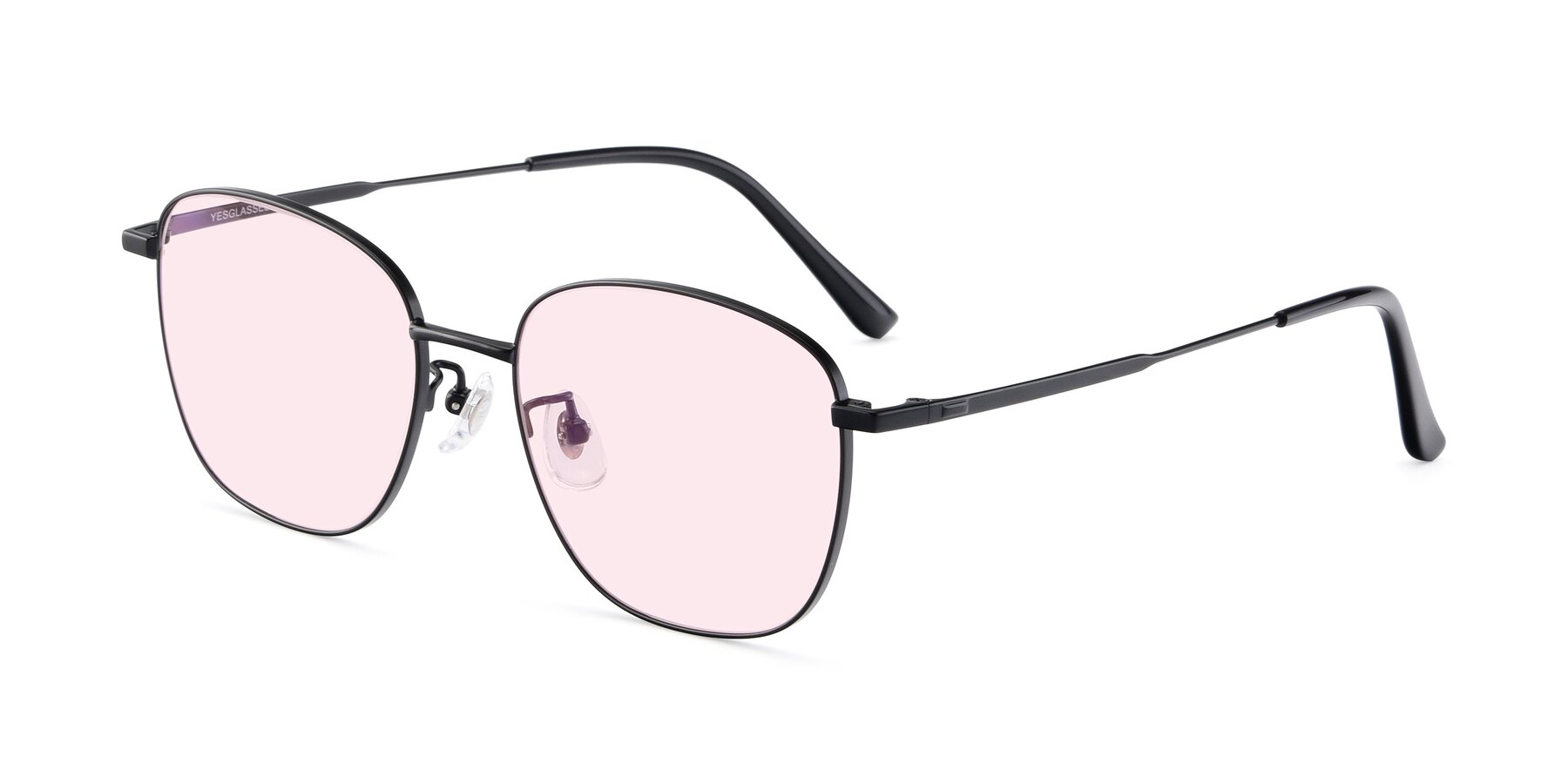 Angle of Tim in Black with Light Pink Tinted Lenses