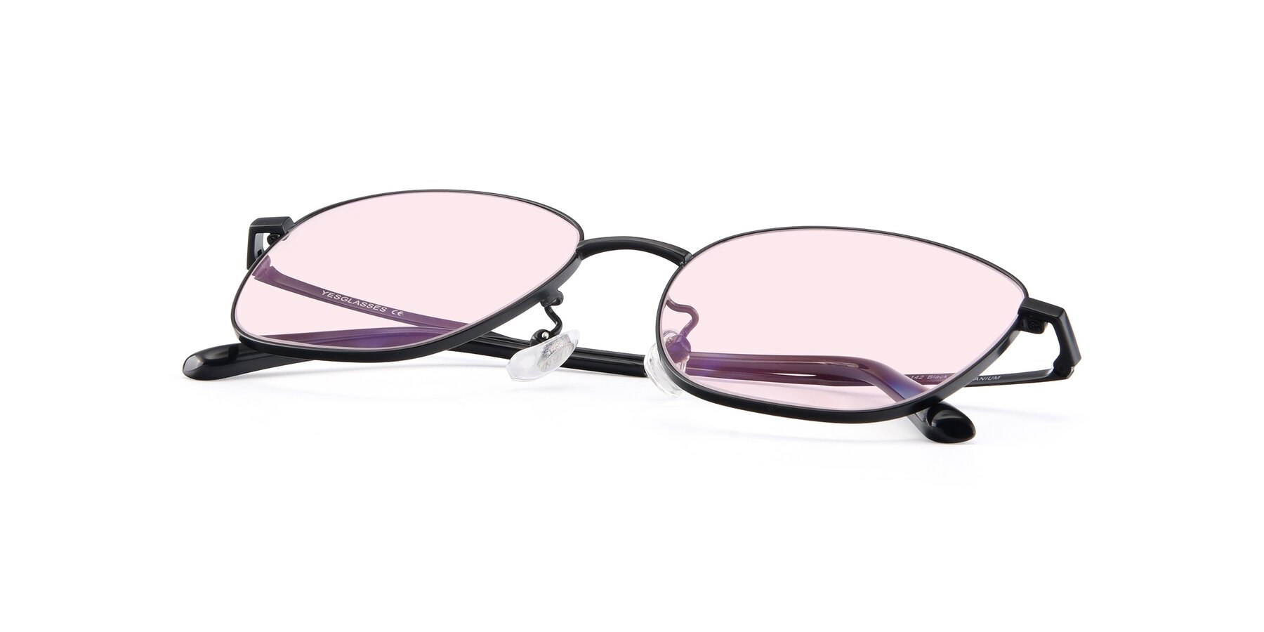View of Tim in Black with Light Pink Tinted Lenses