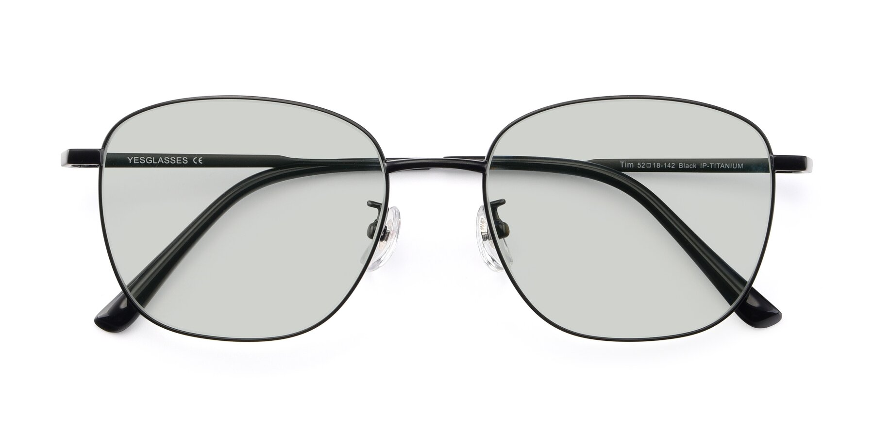 Folded Front of Tim in Black with Light Green Tinted Lenses